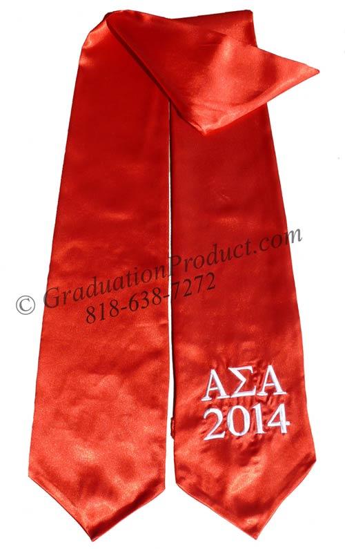 Alpha Sigma Alpha Red Greek Grad Stole