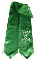 Kelly Green Class of 2015 Graduation Stole